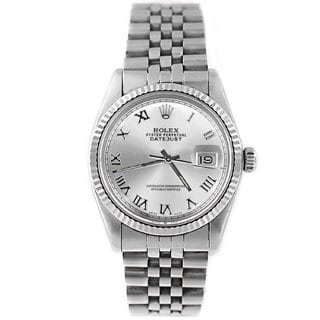 Pre-Owned Rolex Men's Datejust 16014 Stainless Steel Silver-tone Roman Watch