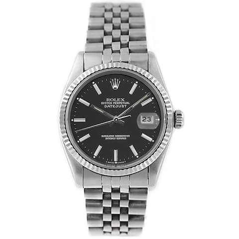 Pre-Owned Rolex Men's Datejust 16014 Stainless Steel and White Gold Black Stick Watch