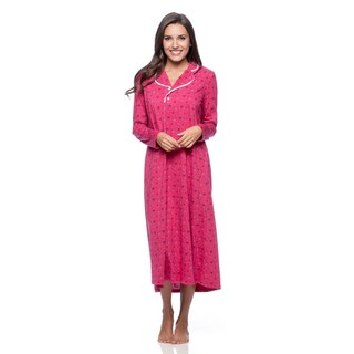 Aegean Apparel Women's Fuchsia Bouquet Pattern Nightgown