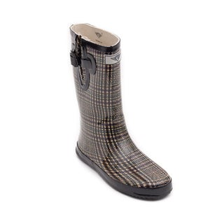 Women's Plaid Weave Design Rubber Boot