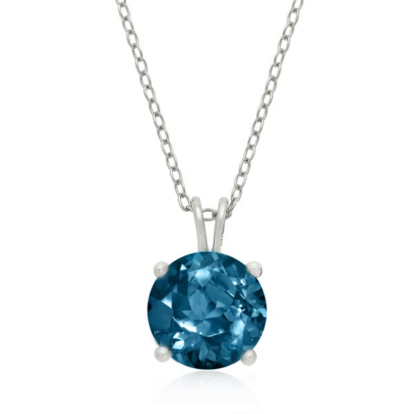 Dolce Giavonna Sterling Silver London Blue Topaz Circle Necklace in a Gift Box