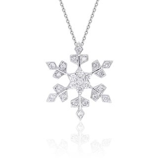 Dolce Giavonna Sterling Silver Cubic Zirconia Snowflake Design Necklace with Gift Box