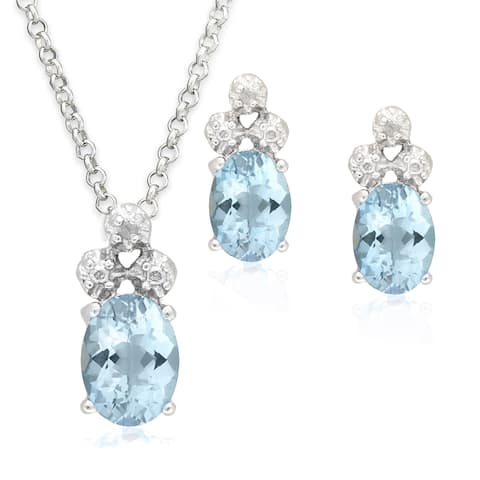 Dolce Giavonna Sterling Silver Gemstone and Diamond Accent Necklace and Earrings Set