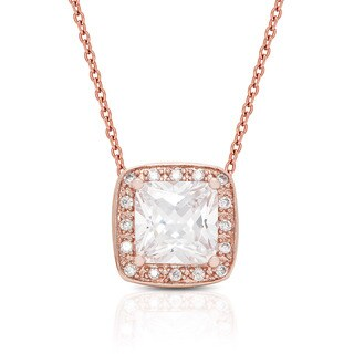 Dolce Giavonna Rose Gold Overlay Cubic Zirconia Necklace and Earrings Jewelry Set with Gift Box
