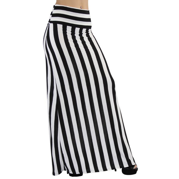 tbis black and white vertical striped maxi skirt with fold