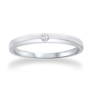 14k White Gold 0.035 CT Solitaire Diamond Promise Ring