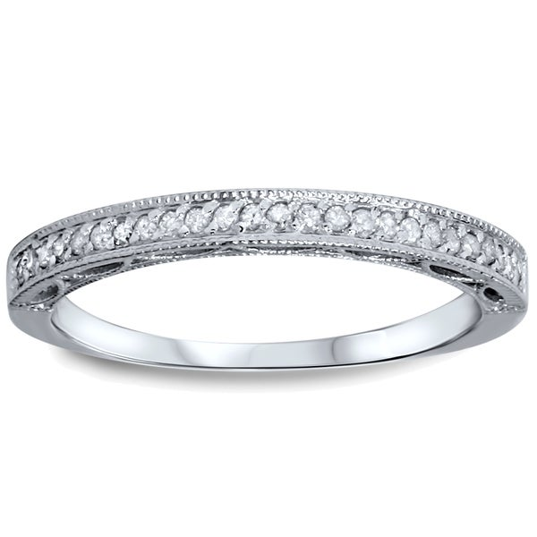 10k White Gold 1/10ct TDW Diamond Wedding Ring with Open Gallery Details