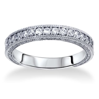 14k White Gold 1/ 4ct TDW Diamond Wedding Ring with Scroll Details (I-J, I2-I3)