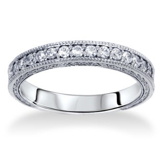 14k White Gold 1/ 4ct TDW Diamond Wedding Ring with Scroll Details