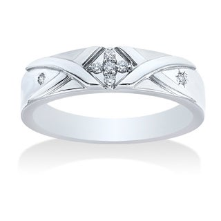 Men's 14k White Gold 0.06ct TDW Diamond Wedding Band (More options available)
