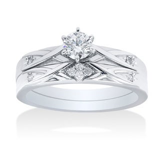 14k White Gold 0.35ct TDW Simple Modern Diamond Bridal Set
