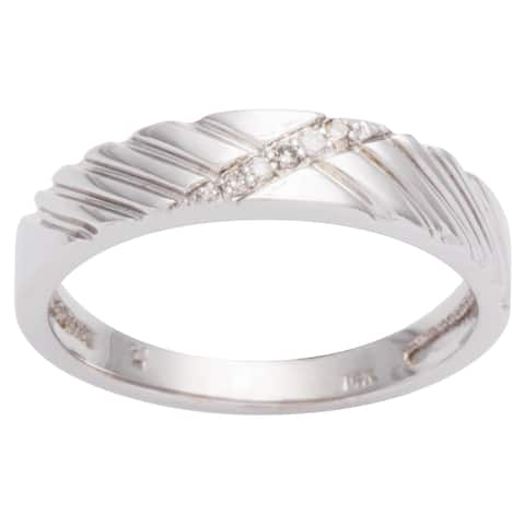 Men's 14k White Gold Diamond Wedding Band