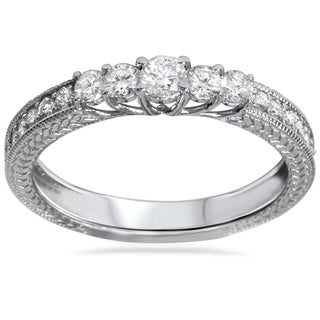 14k White Gold 1/2ct TDW Vintage Inspired Diamond Five Stone Anniversary Ring
