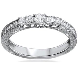 14k White Gold 1/2ct TDW Vintage Inspired Diamond Five Stone Anniversary Ring