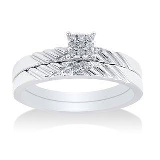 14k White Gold 0.25ct TDW Diamond Bridal Set (I-J, I2-I3)