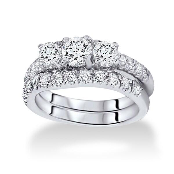 14k White Gold 1.5ct TDW Three-stone Diamond Bridal Set