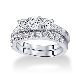 14k White Gold 1.5ct TDW Three-stone Diamond Bridal Set