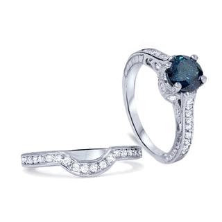 14k White Gold 1.5ct TDW Blue/ White Vintage-style Diamond Bridal Set (I-J, I2-I3)