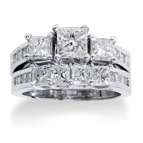 14k White Gold 3.5ct TDW Princess-cut Diamond 3-Stone Bridal Ring Set