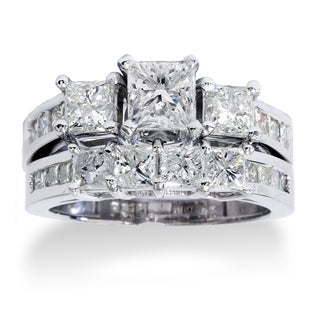 14k White Gold 3.5ct TDW Princess-cut Diamond 3-Stone Bridal Ring Set (H-I, I1-I2)