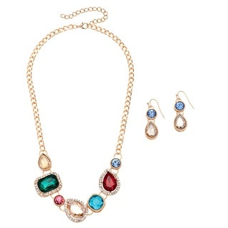 Alexa Starr Mixed Stone Crystal Necklace and Earrings Jewelry Set