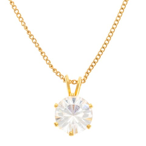 Alexa Starr Cubic Zirconia Prong Set Pendant Necklace with Red Gift Box