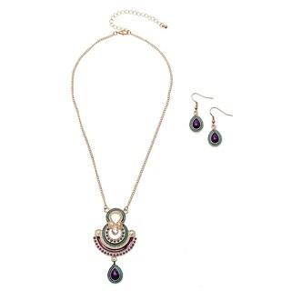 Alexa Starr Art Deco Pendant Necklace and Earrings Jewelry Set