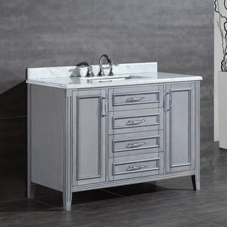 OVE Decors Daniel 48 Inch Single Sink Bathroom Vanity With Marble Top