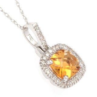 10k White Gold Gemstone 1/6ct TDW White Diamond Pendant (H-I, I1-I2)