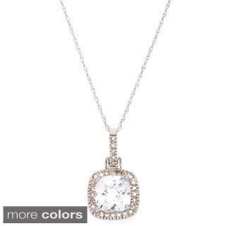 10k White Gold Gemstone 1/6ct TDW White Diamond Pendant (H-I, I1-I2)