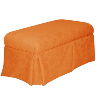 Skyline Furniture Skirted Storage Bench in Flower Pad Orange