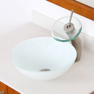 Elite 1421/ F22TBN White Double Layer Tempered Glass Bathroom Vessel Sink and Waterfall Faucet Combo