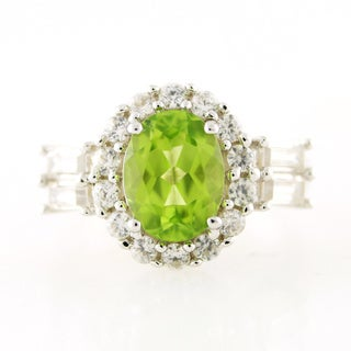 Sterling Silver Peridot White Zircon Halo Ring