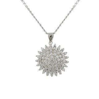 Luxiro Luxiro Sterling Silver White CZ Starburst Necklace