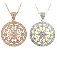 Luxiro Sterling Silver CZ Filigree Celtic Circle Medallion Necklace