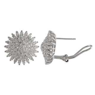 Luxiro Luxiro Sterling Silver Cubic Zirconia Starburst Circle Post Omega Earrings