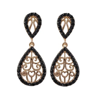 Luxiro Sterling Silver Cubic Zirconia Filigree Teardrop Dangle Earrings
