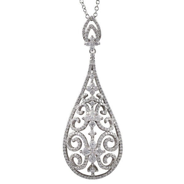 Luxiro Luxiro Sterling Silver CZ Filigree Teardrop Necklace. Opens flyout.