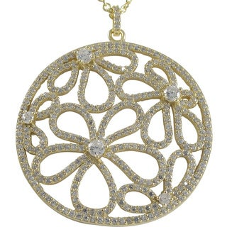 Luxiro Luxiro Sterling Silver Gold Finish CZ Flowers Filigree Circle Pendant