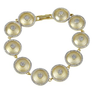 Luxiro Two-tone Brushed Gold Finish Domed Circles Link Bracelet