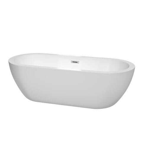 Wyndham Collection Soho 72-inch Freestanding Soaking Bathtub in White
