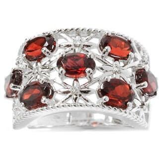 Sterling Silver Garnet White Zircon Starburst Ring