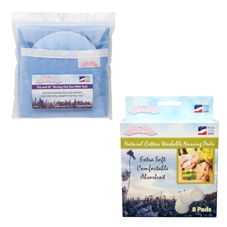 NuAngel Flip and Go Blue Nursing Pad Case with Washable Pad Set