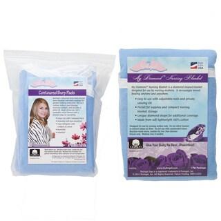 NuAngel Blue Nursing Blanket with Contoured Burp Pad Set