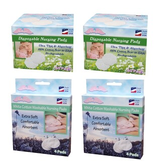 NuAngel All-Natural White Biodegradable Disposable Cotton Nursing Pad Set