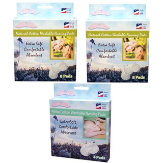 NuAngel All-Natural and White Cotton Washable Nursing Pad Set