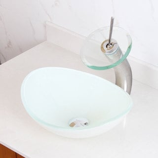 Elite 1420/ F22TC White Oval Tempered Glass Bathroom Vessel Sink and Waterfall Faucet Combo