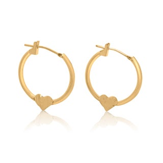 Gioelli 14k Yellow Gold Diamond-cut Heart Hoop Earrings