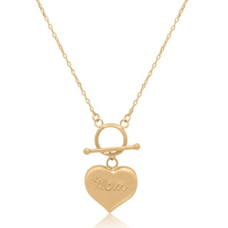 Gioelli 14k Gold Puff Heart Mom Toggle Necklace