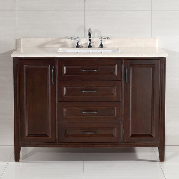shop ove decors daniel 48 inch single sink bathroom vanity with marble vanity top free. Black Bedroom Furniture Sets. Home Design Ideas